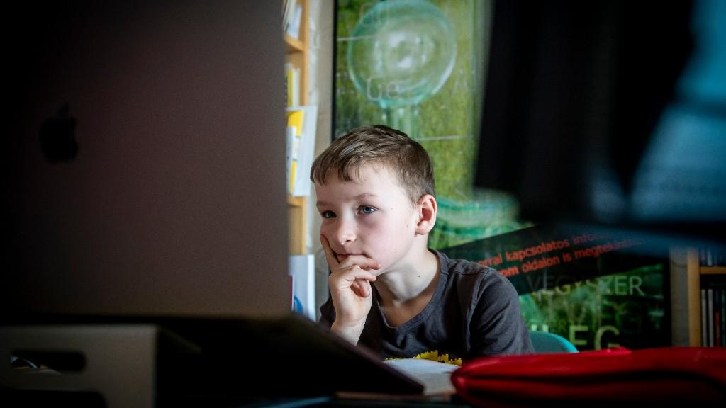 Az 1. osztályos Áron matematika órán vesz részt Nagykőrösön (fotó: MTI/Ujvári Sándor)