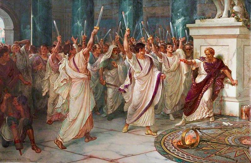 Caesar meggyilkolása William Holmes Sullivan festményén (forrás: Wikipedia)