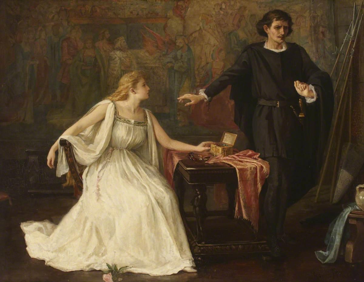 Hamlet és Ofélia Agnes Pringle festményén (forrás: artuk.org)