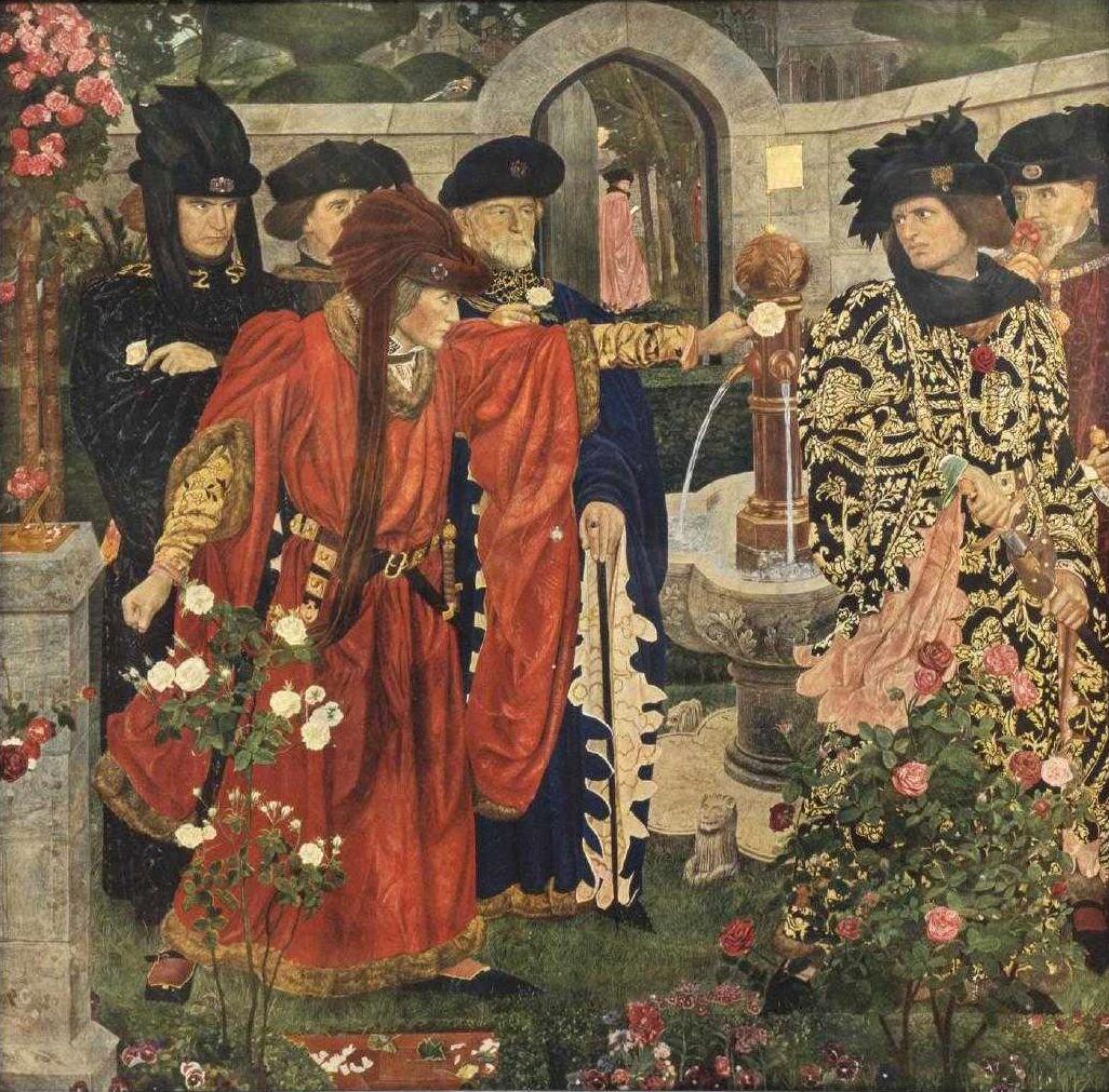 Shakespeare VI. Henrik c. drámája alapján készült festmény a vörös és fehér rózsákkal parádézó nemes urakról (forrás: Wikipedia)