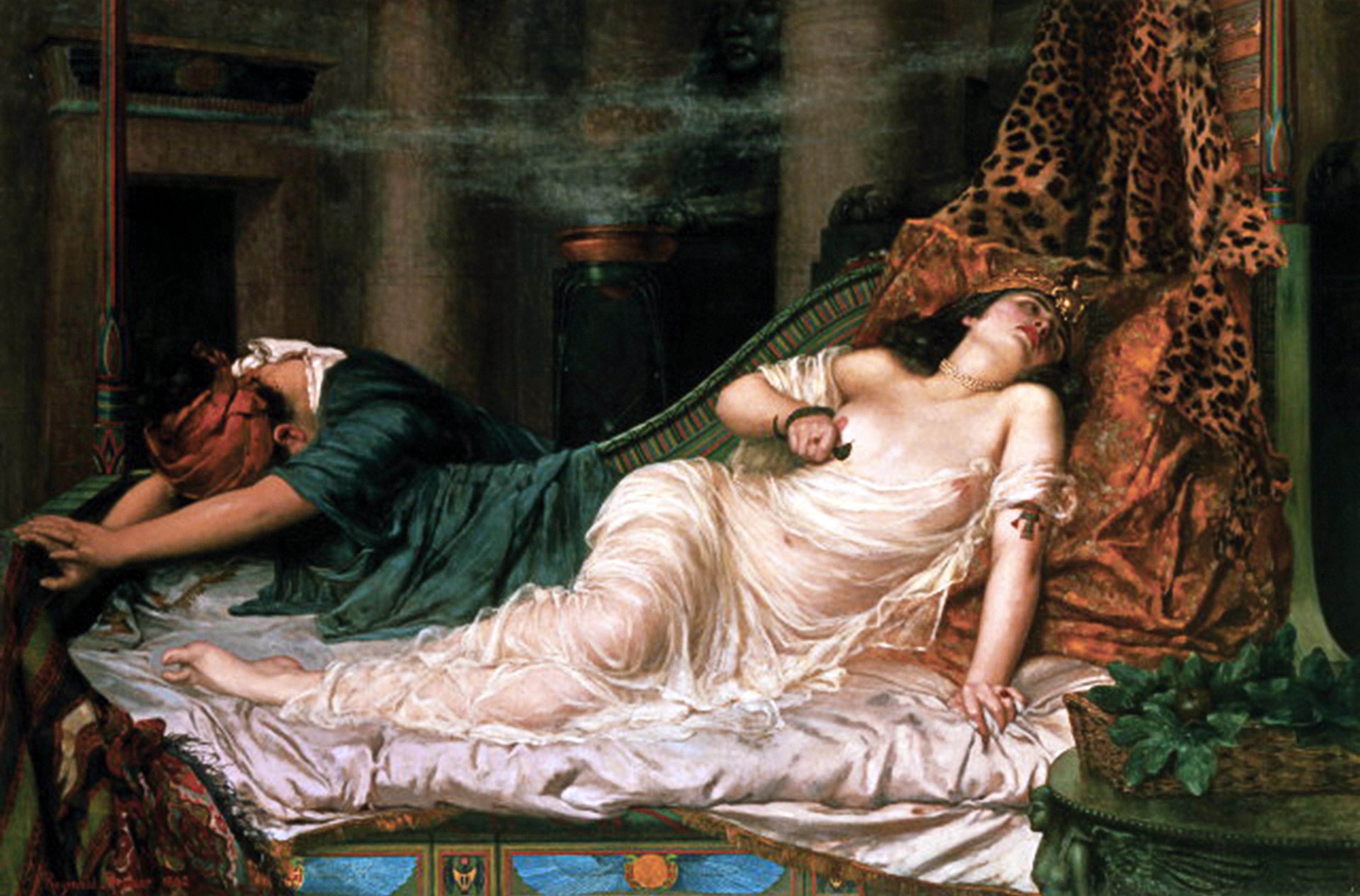 Kleopátra halála Reginald Arthur festményén (forrás: Wikipedia)