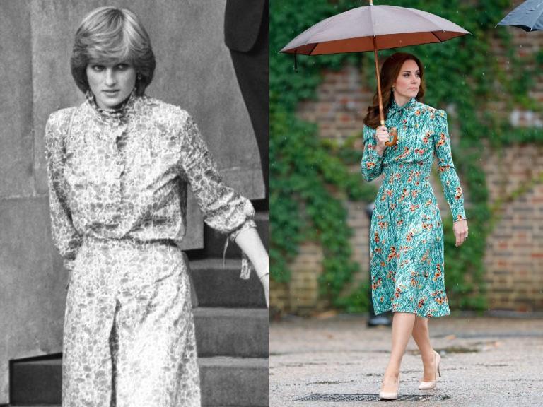 Diana hercegnő 1981-ben és Katalin hercegné 2017-ben