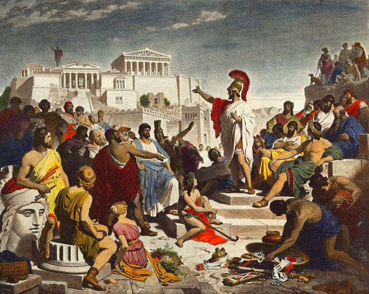 Periklész beszédet tart a népgyűlés előtt Philipp Foltz festményén (forrás: Wikipedia)