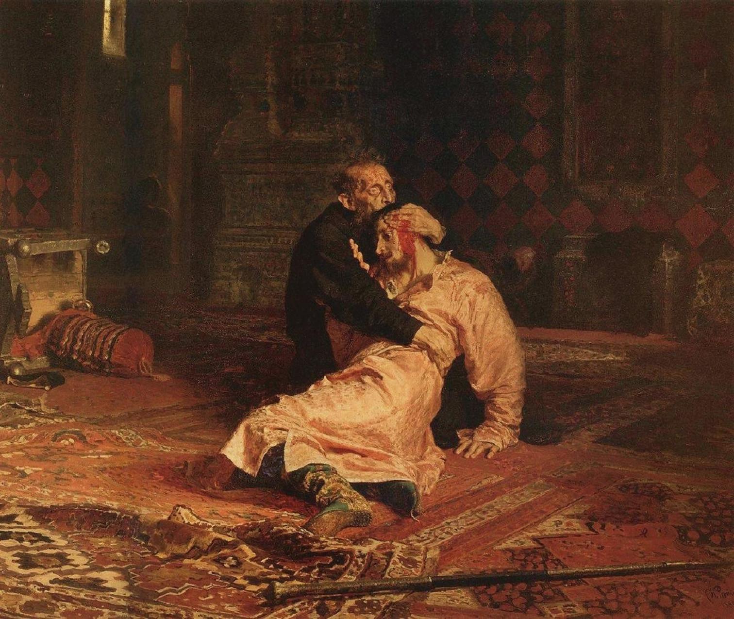 Ilja Jefimovics Repin: Rettegett Iván és fia 1581. november 16-án (forrás: Wikipedia)
