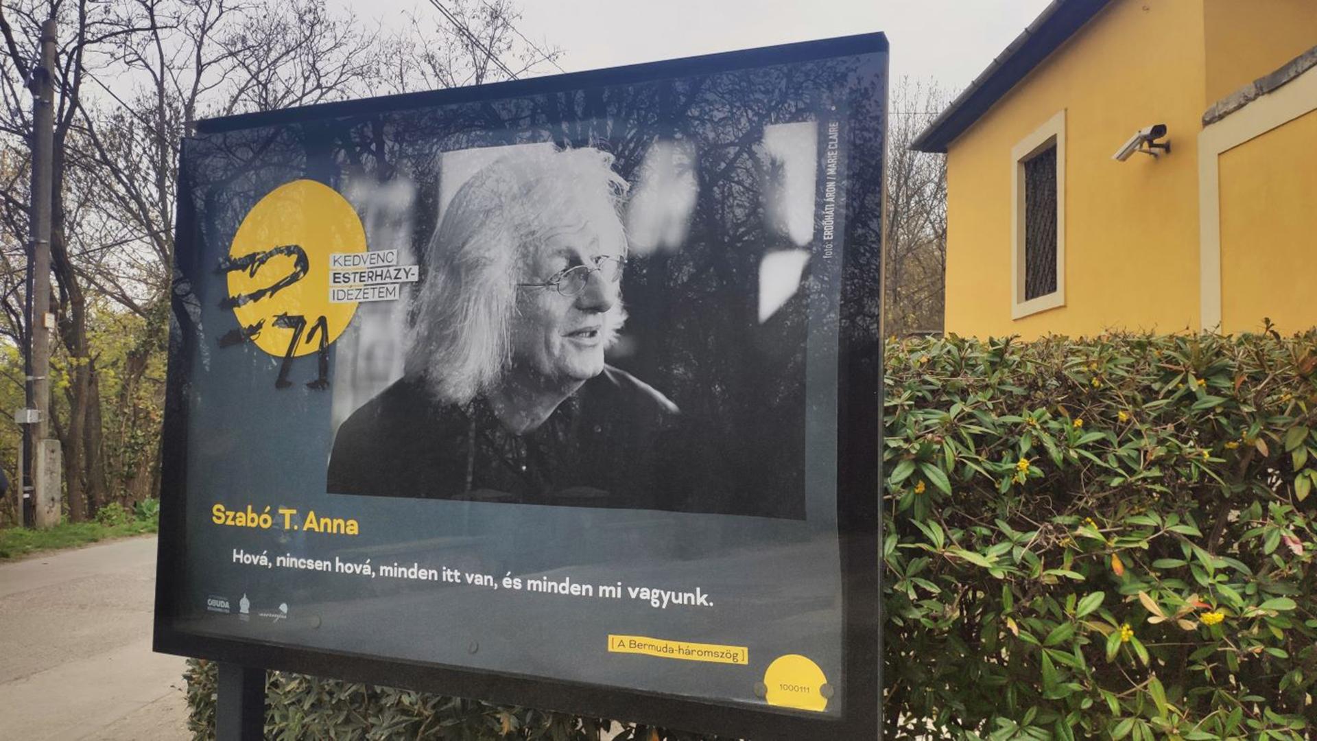 Esterházy Pétert ünneplő plakátok lepik el Óbudát