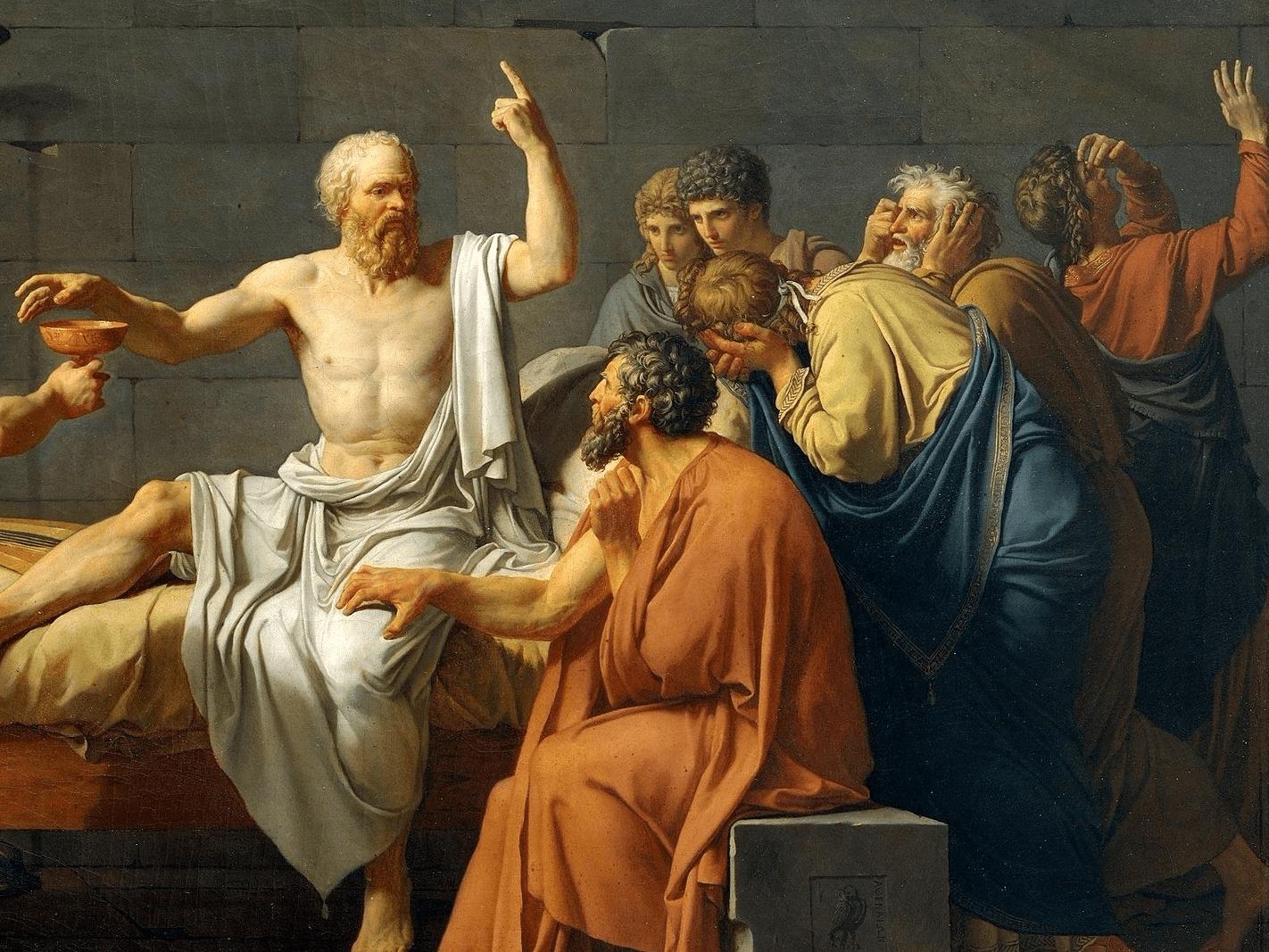 Görög filozófusok heves filozofálgatás közben (forrás: Wikipedia)