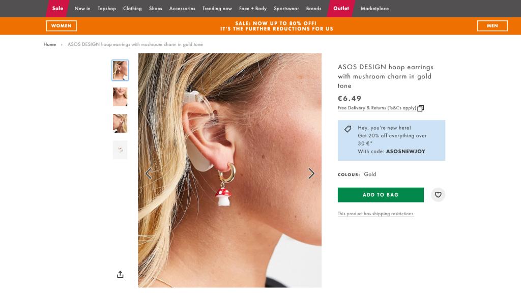 Hallókészülékes modell reklámozza az ASOS fülbevalóját, imádják a vásárlók