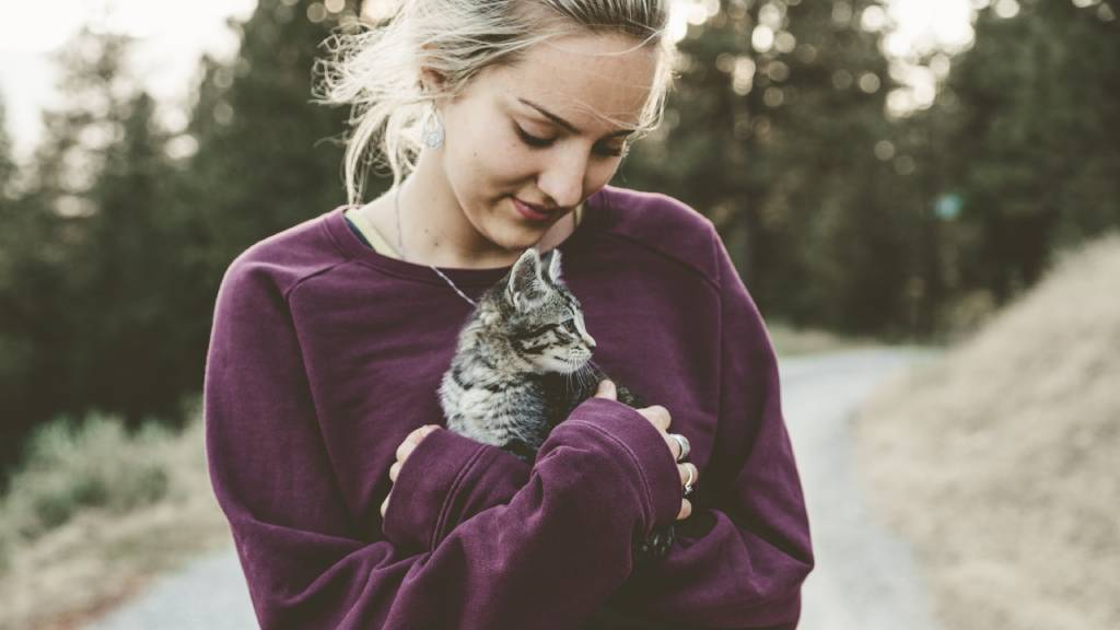 nő cicával