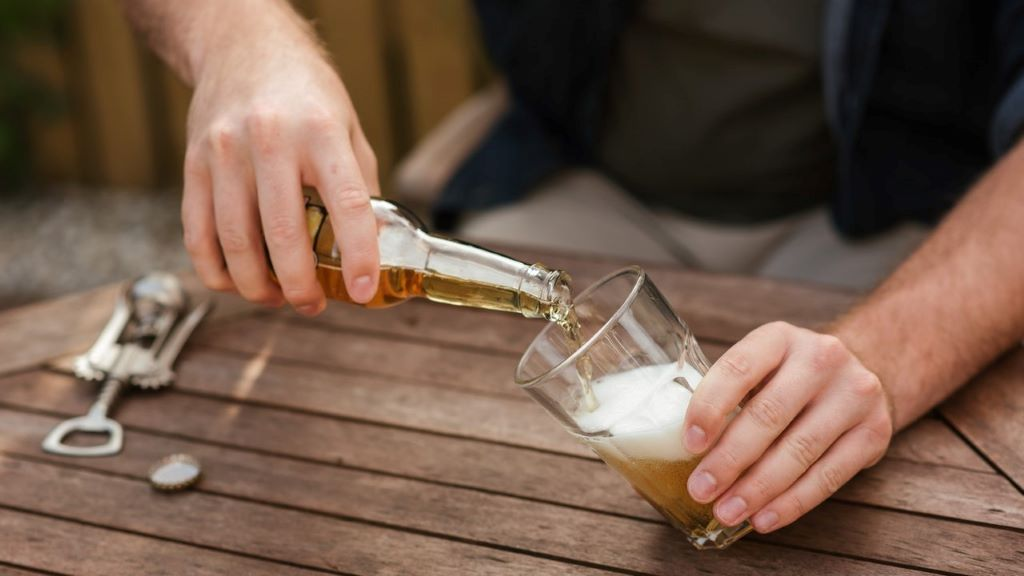 alkohol, sör, pohár