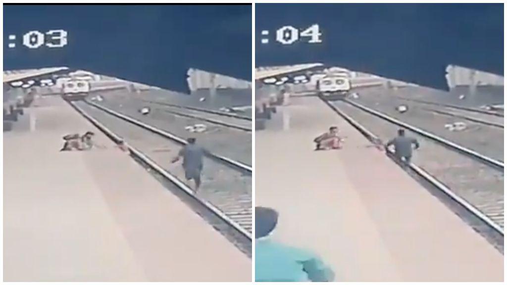 Döbbenetes videó: az utolsó pillanatban mentette meg a sínekre esett gyereket
