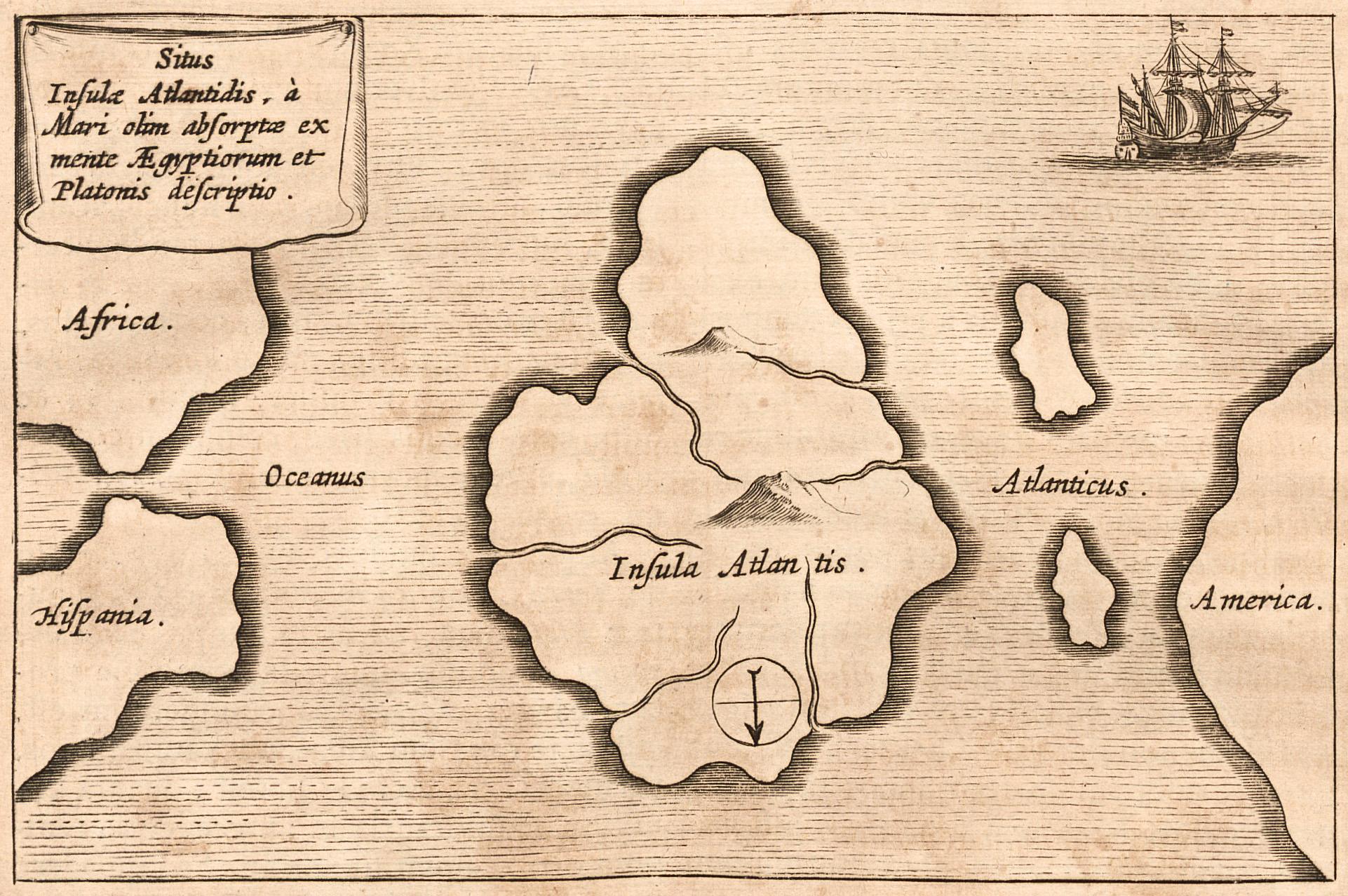 Atlantisz szigete egy 17. századi térképen (forrás: Wikipedia)