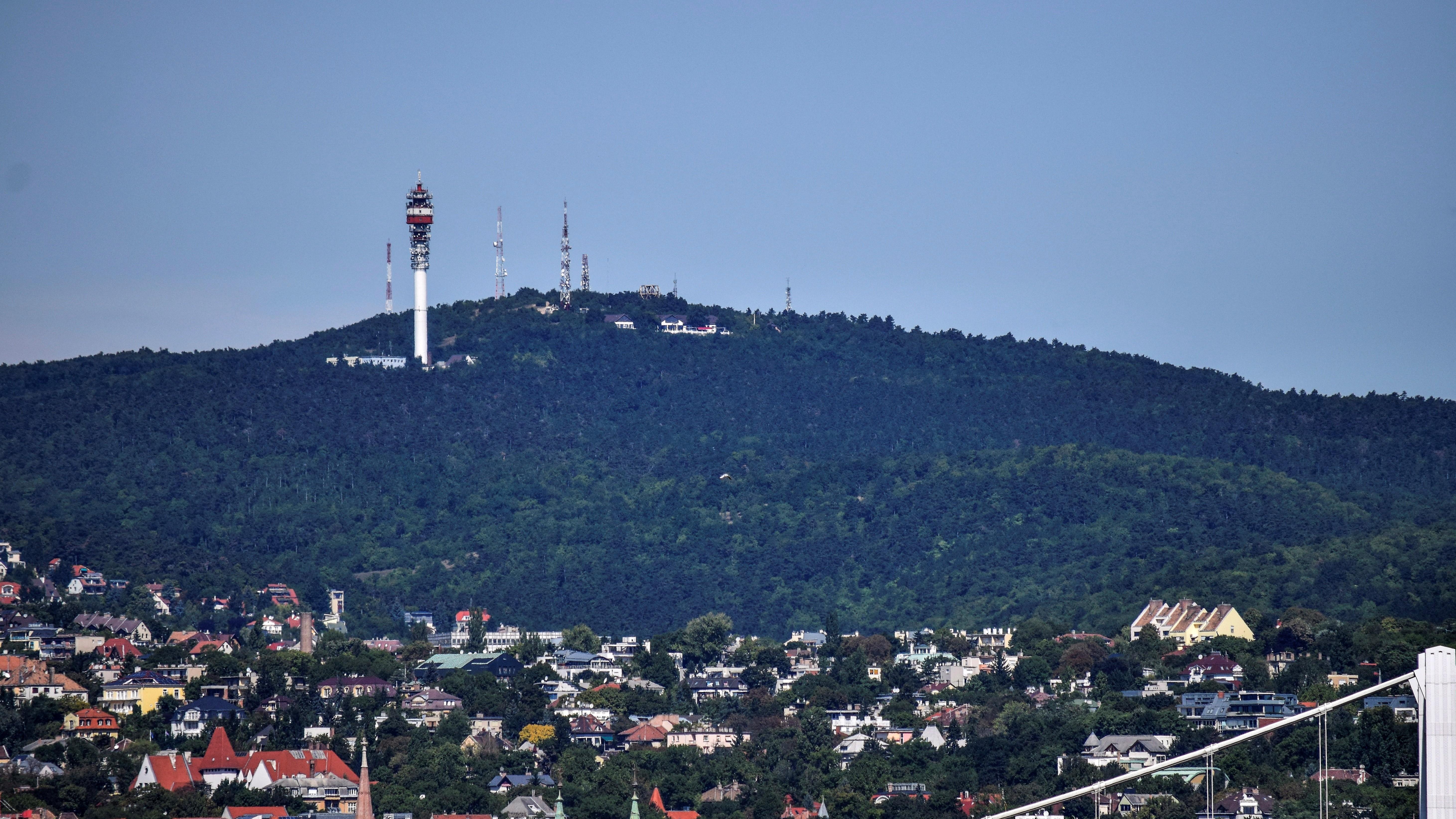 A Hármashatár-hegy látképe, előtte a budai városrész és az Erzsébet híd részlete