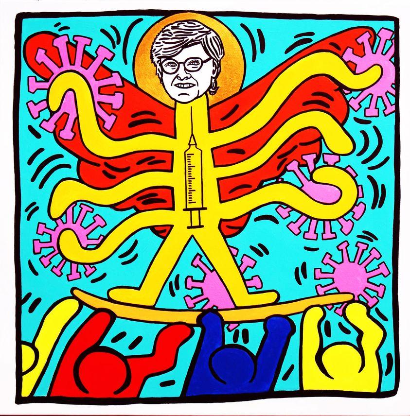 Karikó Katalin kiüti a vírust Keith Haring műtermében