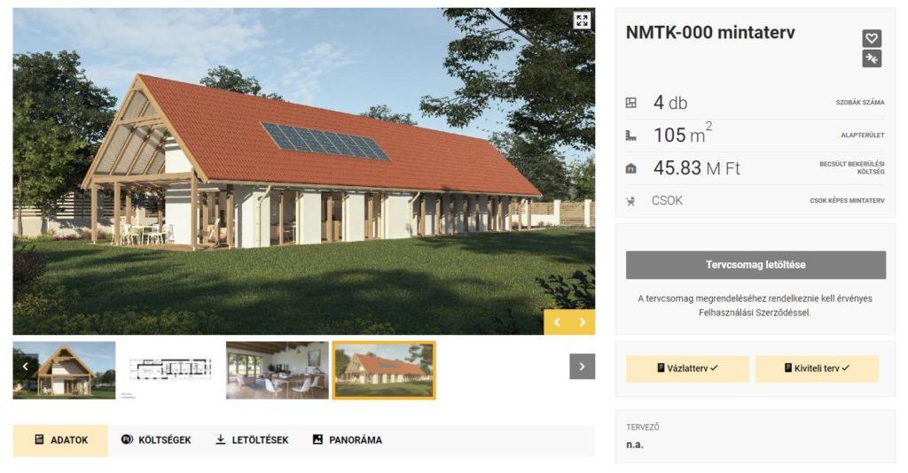 Családi ház tervének adatlapja az NMTK oldalán. Például ennek a tervdokumentációját is letölthetjük.