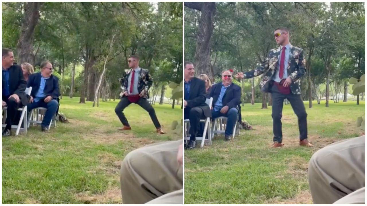 A virágszóró férfi tánca mindent vitt az esküvőn