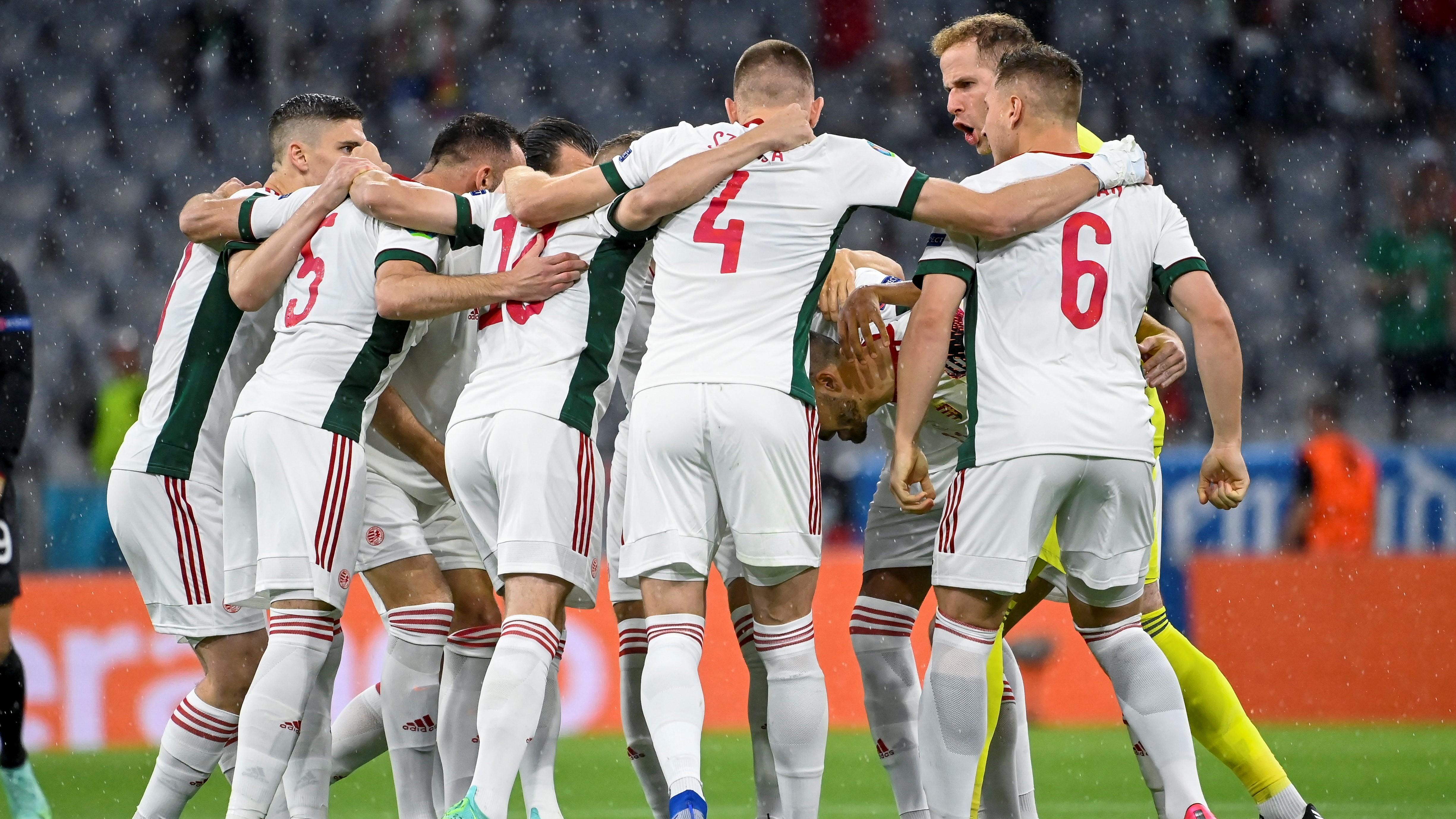 A magyar csapat a Németország - Magyarország mérkõzésen a müncheni Allianz Arénában 2021. június 23-án. Németország-Magyarország 2-2. (Fotó: MTI/Kovács Tamás)