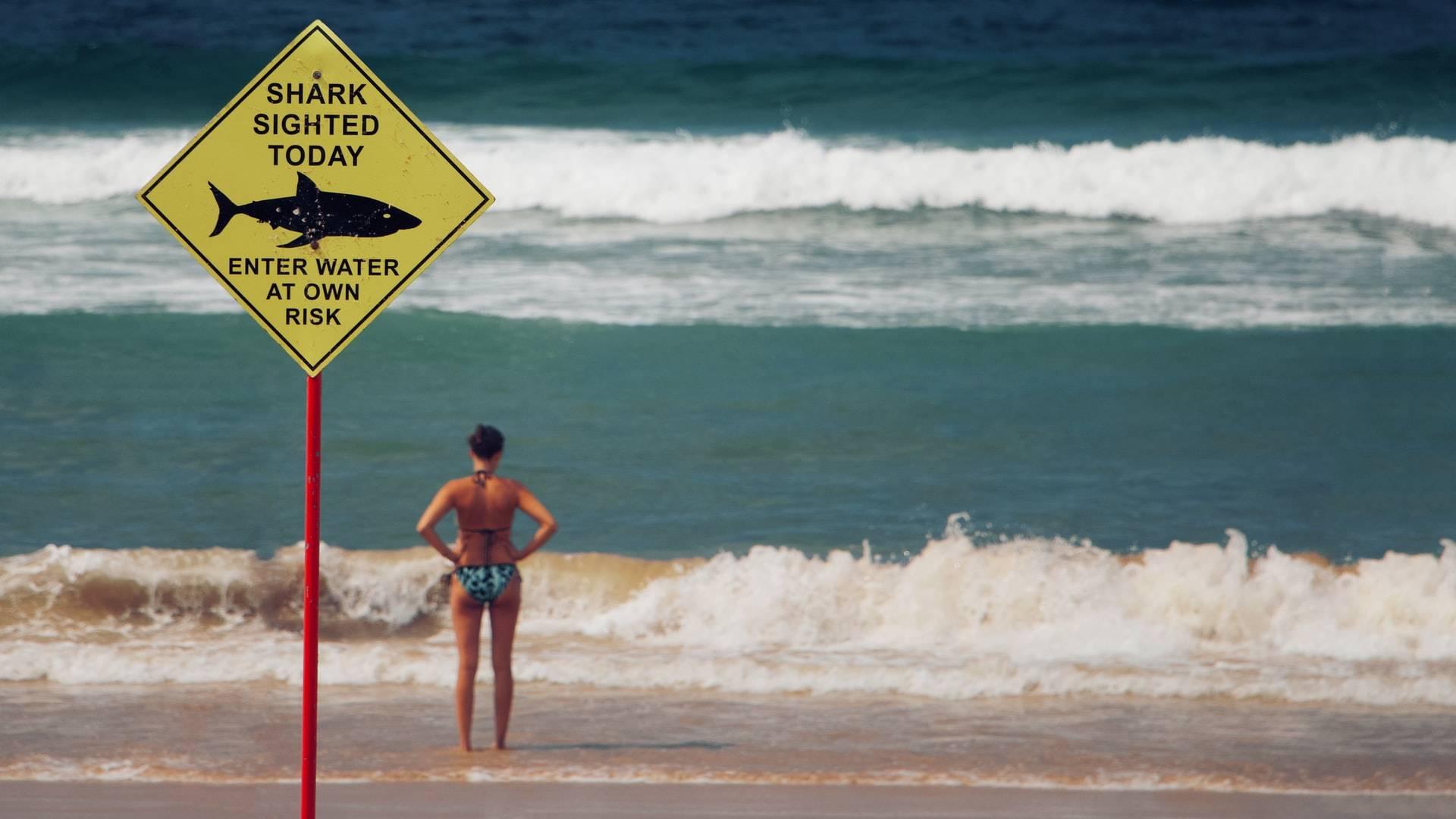 tengerparton álló nő