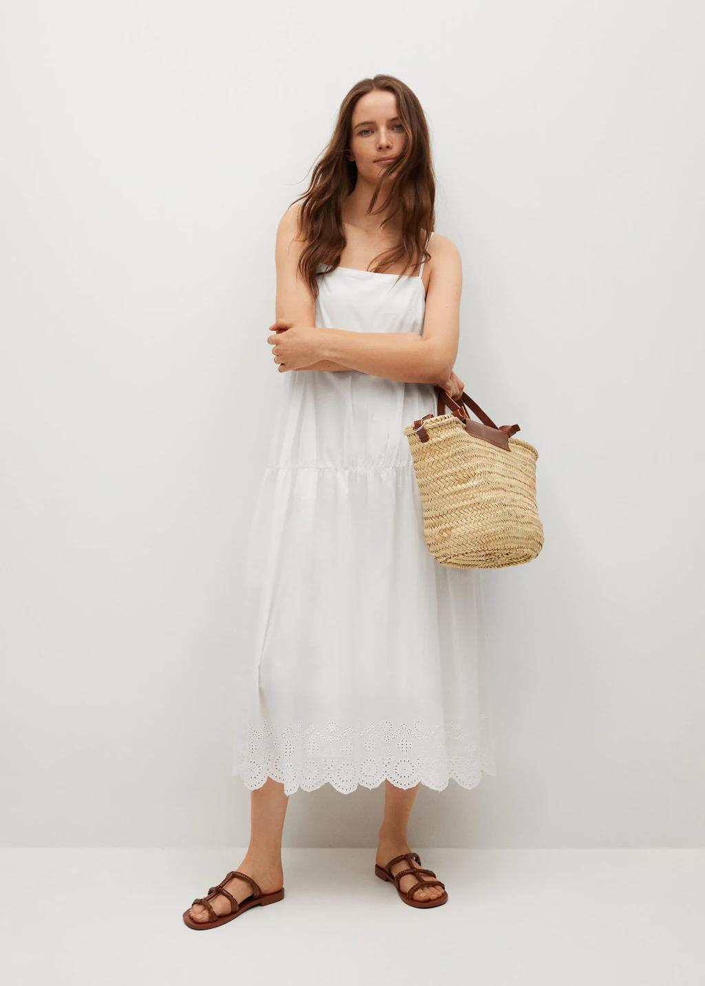 Mango fehér pántos ruha