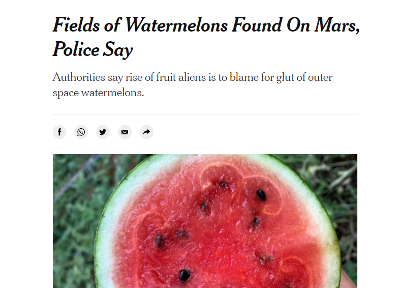 Dinnyét talált a Marson a New York Times