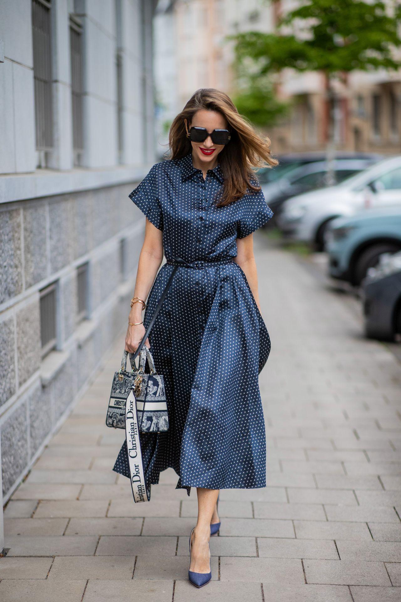 Denim kék ingruha - street style