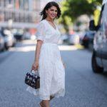 Fehér midi ruha - street style
