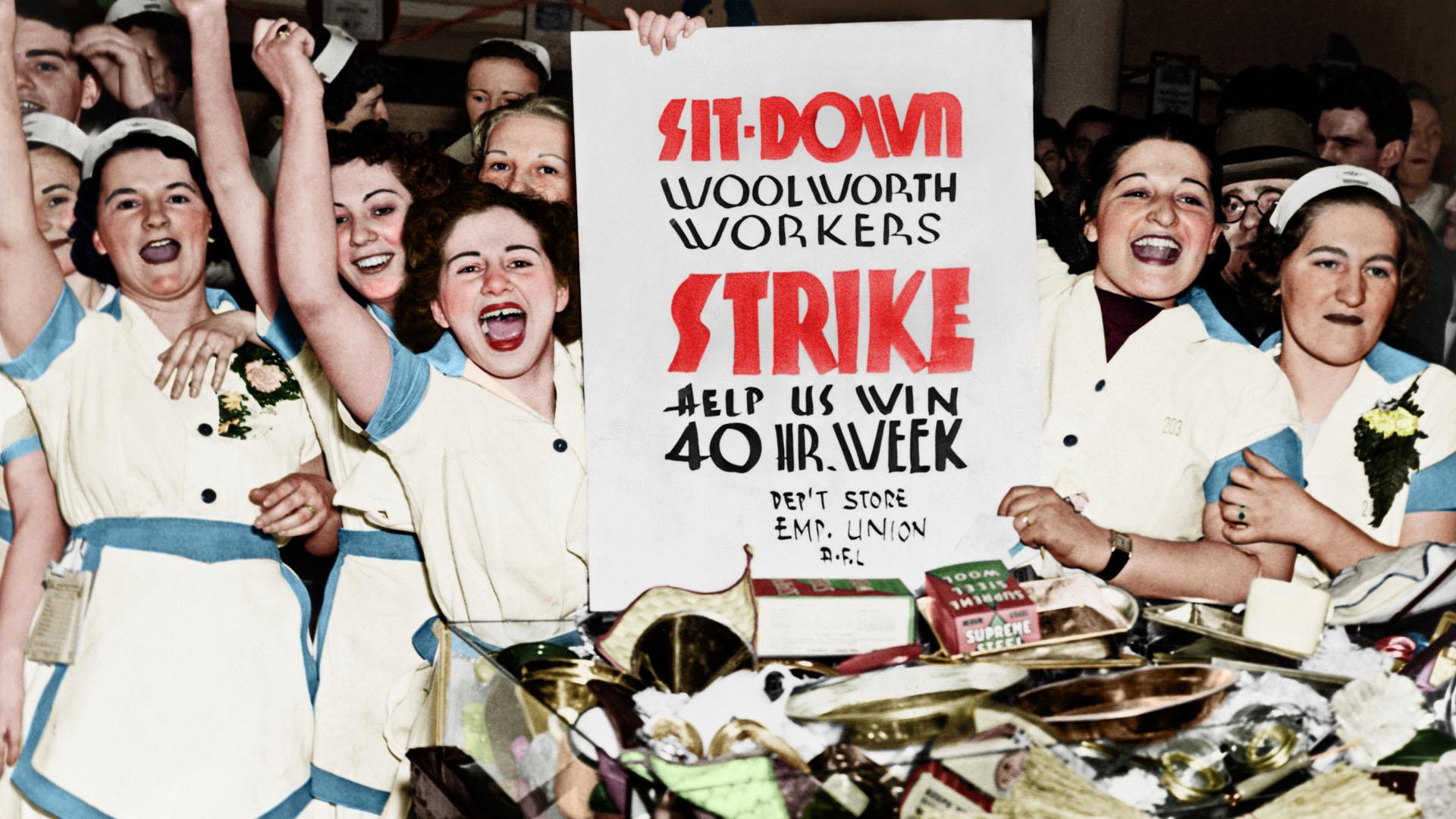 Sztrájkoló munkásnők az ipari forradalom korában
