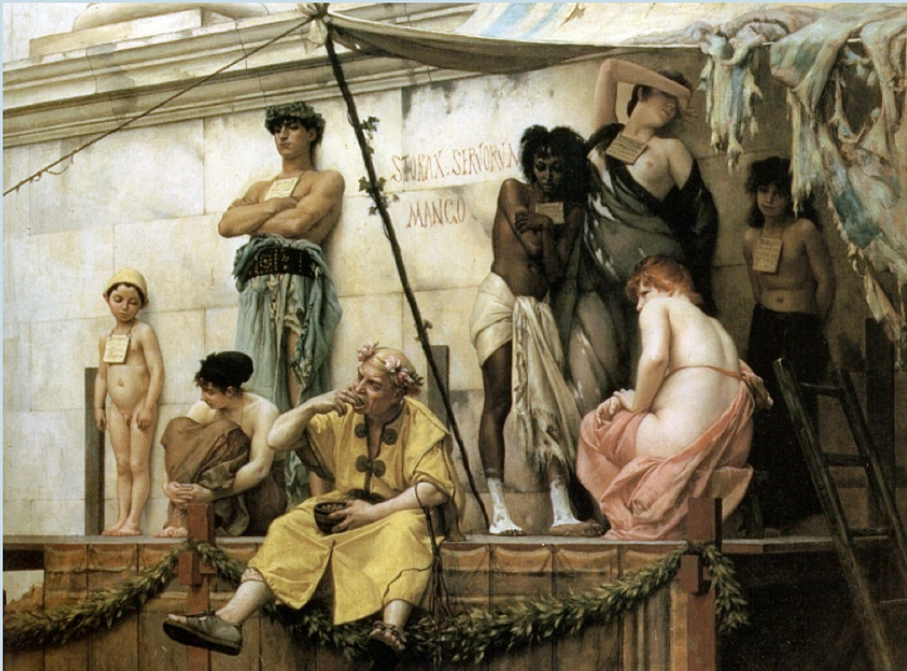 Ókori rabszolgapiac Gustave Boulanger festményén (forrás: Wikipedia)