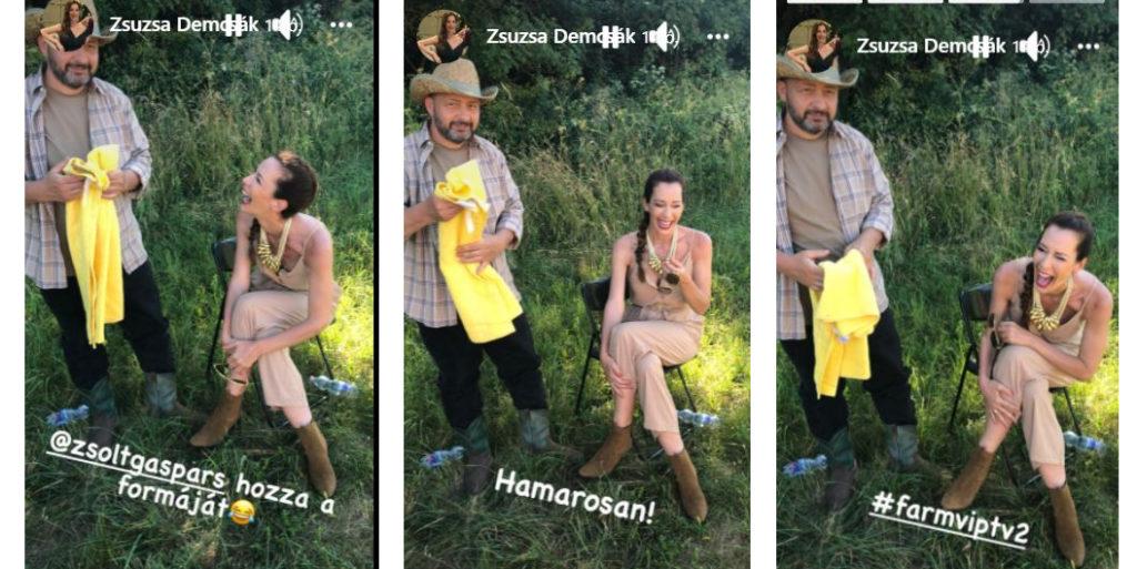 Demcsák Zsuzsa remek hangulatban forgatja a Farm VIP második évadát