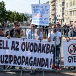 Szélsőjobbos tüntetők a Budapest Pride-on