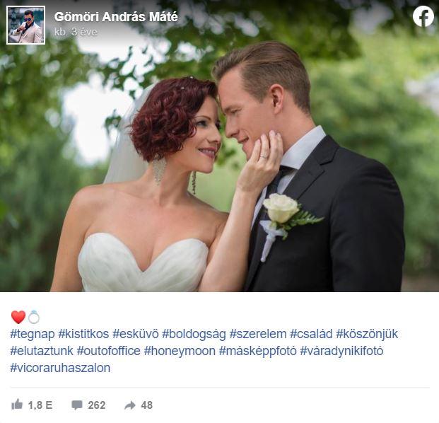Gömöri András Máté ezzel a fotóval jelentette be, hogy összeházasodtak Polyák Lillával
