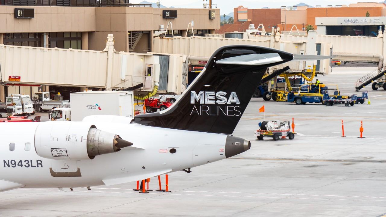 A Mesa Airlines egyik gépe (fotó: Alex Tai/SOPA Images/LightRocket via Getty Images)
