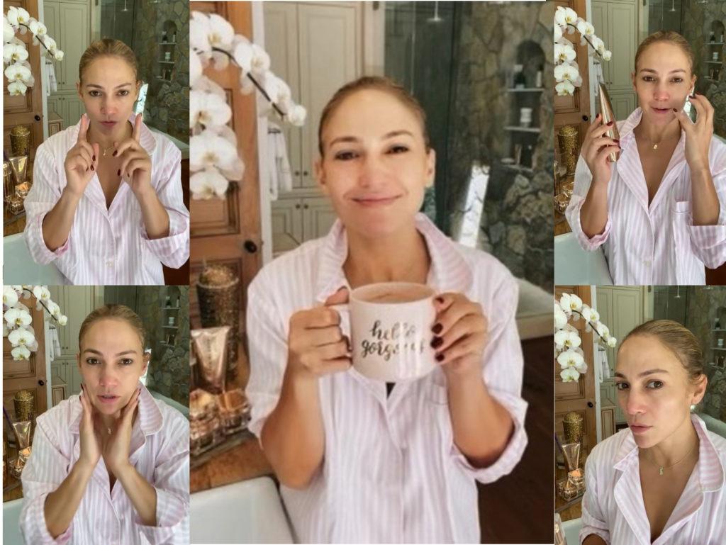 Jennifer Lopez smink nélkül, reggeli készülődés közben