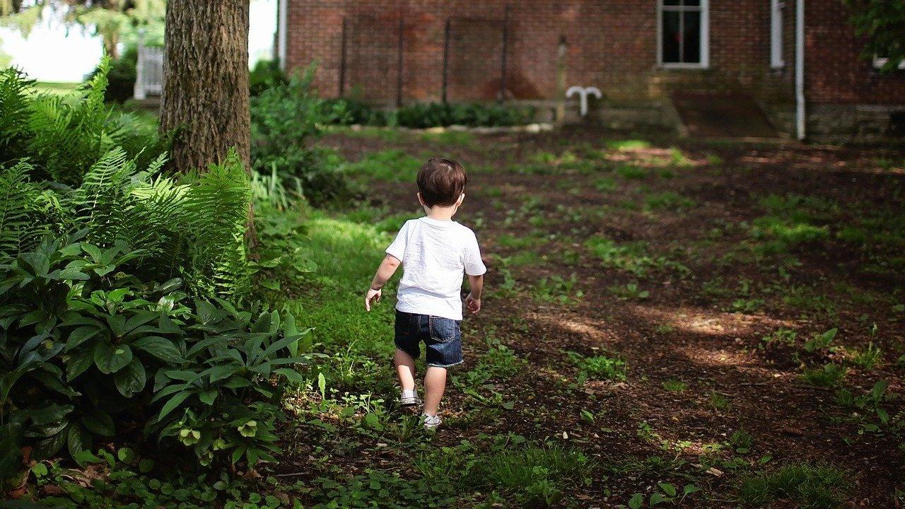 Kisfiú sétál