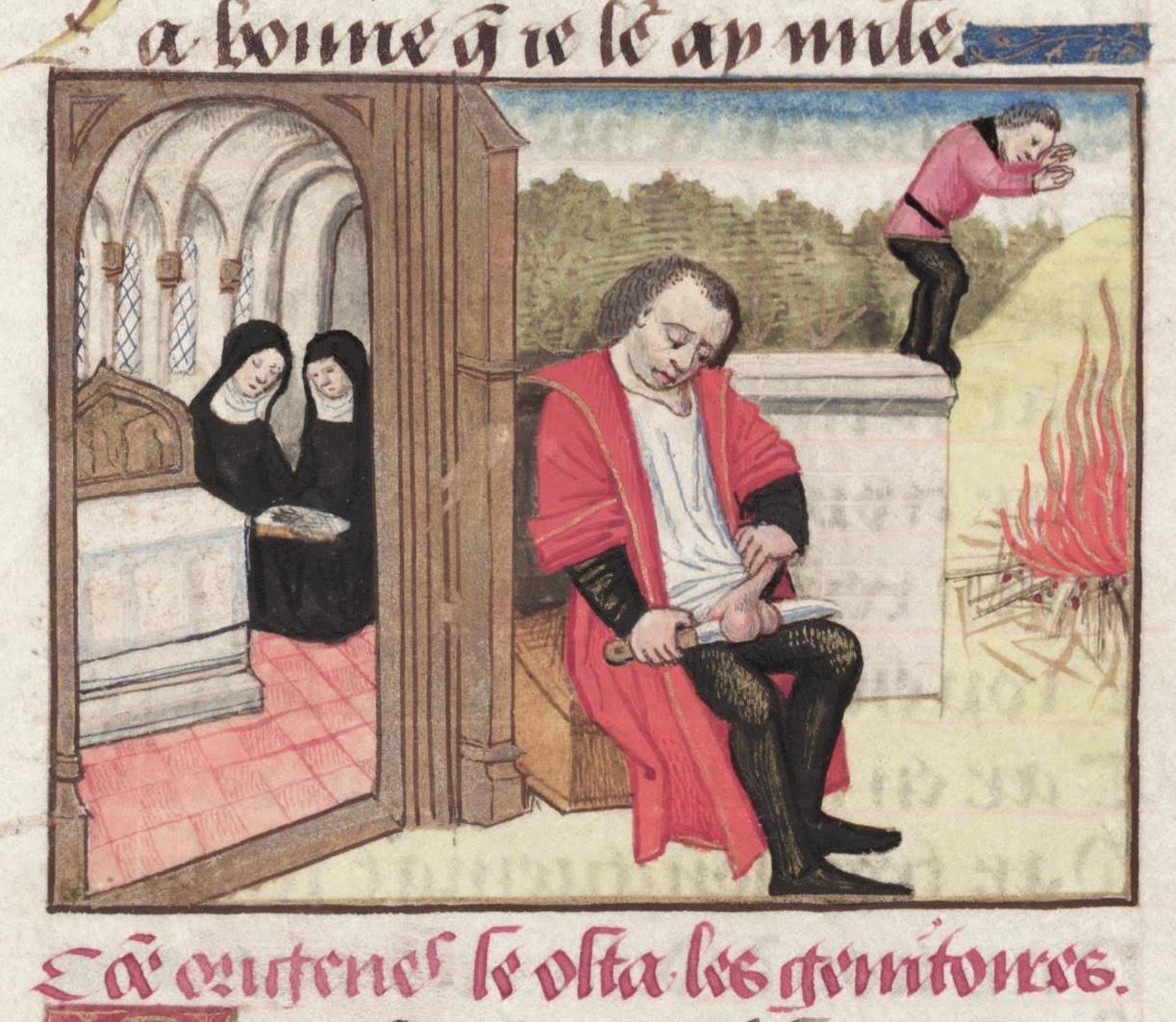 Órigenész Adamantiosz önkasztrációt hajt végre (forrás: Wikipedia)