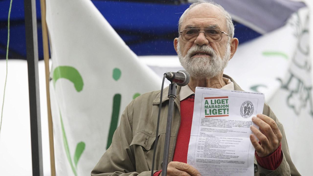 Ráday Mihály városvédő a Civilzugló Egyesület Nem kellenek monstrumok a Ligetbe! címmel megrendezett vonulásos demonstrációján a Városligetben 2015. szeptember 26-án / MTI Fotó: Balogh Zoltán