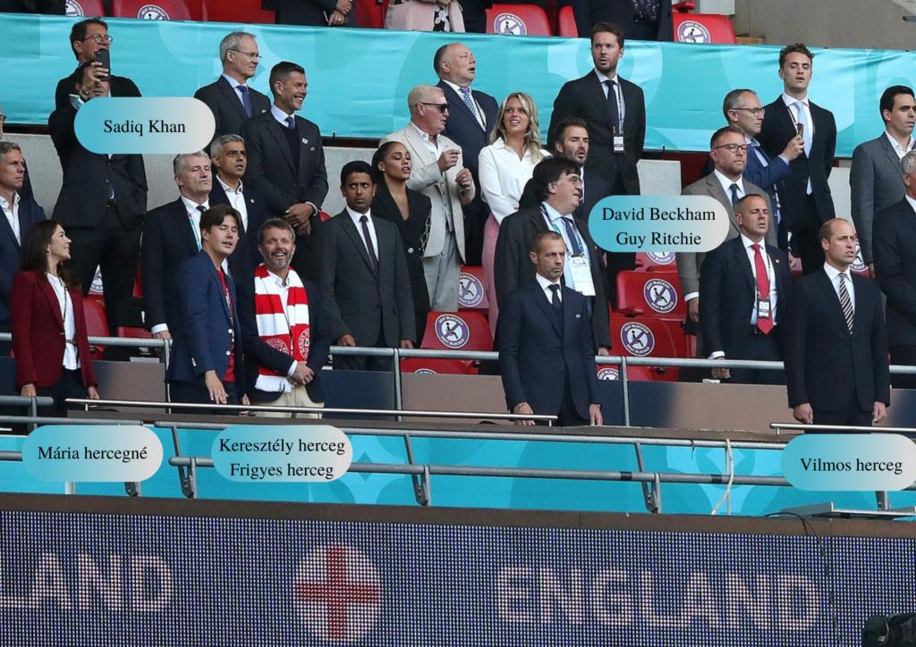 Hírességek az angol-dán mérkőzésen