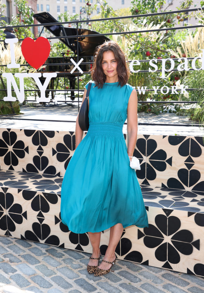 NEW YORK, NEW YORK - SEPTEMBER 08: Actress Katie Holmes is seen during the Kate Spade New York Popup Installation VIP Opening Party for NYFW: The Shows at Gansevoort Plaza on September 08, 2021 in New York City. (Photo by Cindy Ord/Getty Images for NYFW: The Shows)