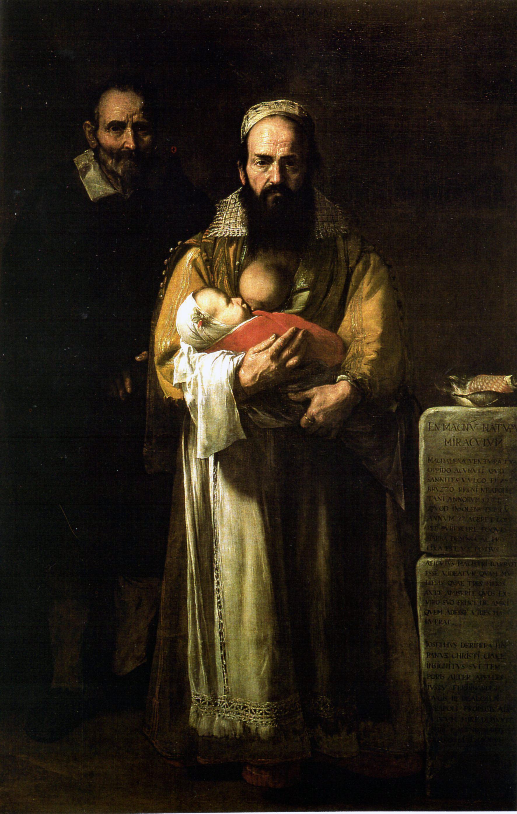 Magdalena Ventura férjével és gyermekével, Jusepe de Ribera festményén (forrás: Wikipedia)
