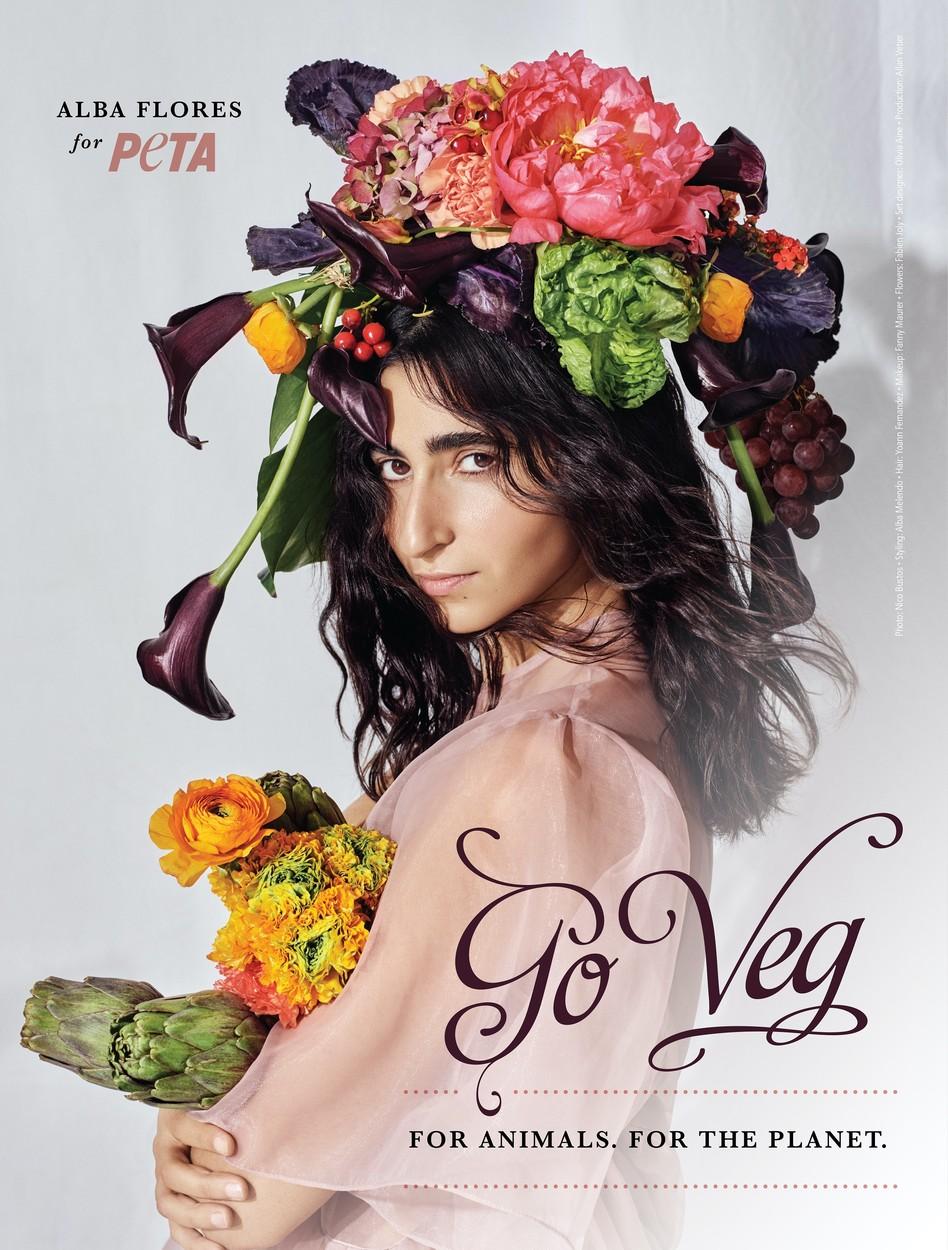 Alba Flores a PETA-nak is segít