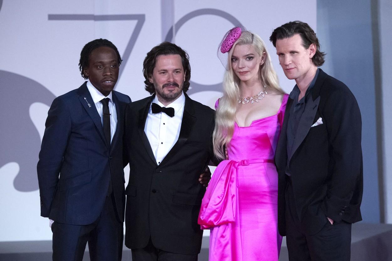 Michael Ajao, Edgar Wright, Anya Taylor-Joy és Matt Smith a film velencei világpremierjén (fotó: Profimédia)