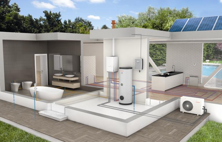 Egy igazán környezetkímélő megoldás: hőszivattyúval és napelemmel kombinált fűtési rendszer az Immergas kínálatából (fotó: Immergas)
