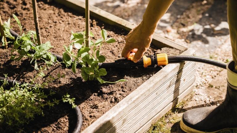 Egy jól kiépített csöpögtetős rendszer takarékos a vízzel és pontosan irányítható vele az öntözés (fotó: fiskars.hu)
